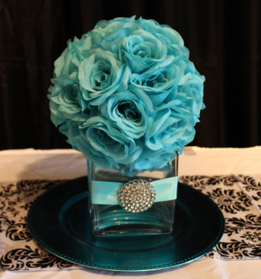 5inch  square with aqua roseball ribbon and brooch copy