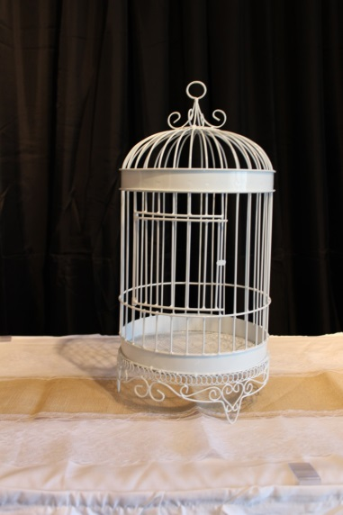 birdcage card holder with coordinating ribbon or bling
