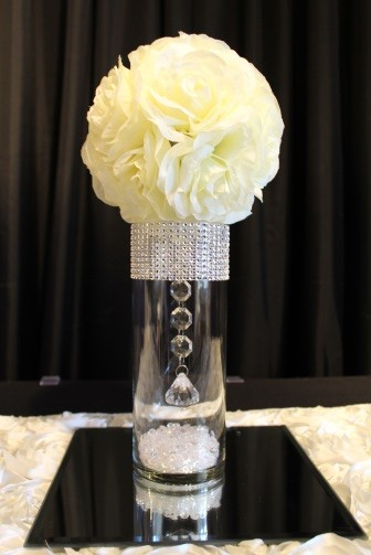 small bling, ivory flowerball centerpiece and mirror