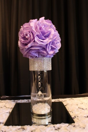 small bling, lilac flowerball centerpiece and mirror