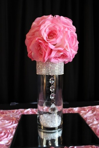 small bling, pink flowerball centerpiece and mirror