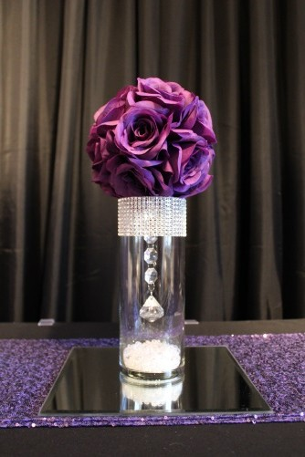 small bling, purple flowerball centerpiece and mirror