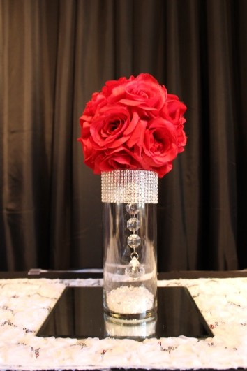 small bling, red flowerball and mirror centerpiece