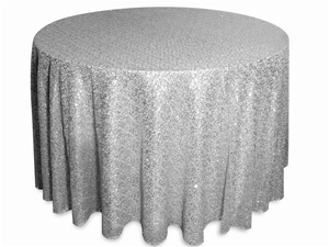 90 inch round silver sequin tablecloth
