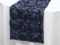 Navy satin rosette runner