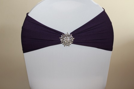 New wide plum chair band with optional vintage brooch