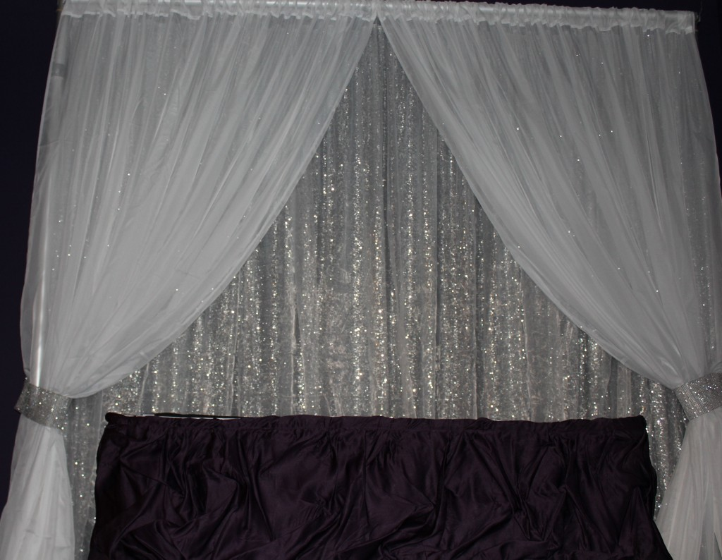 Black with white voile sheer drapes. Silver Sequin and white sheer ...