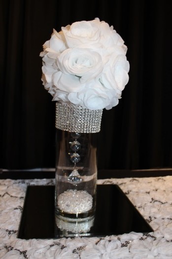White small flowerball, gem and mirror centerpiece