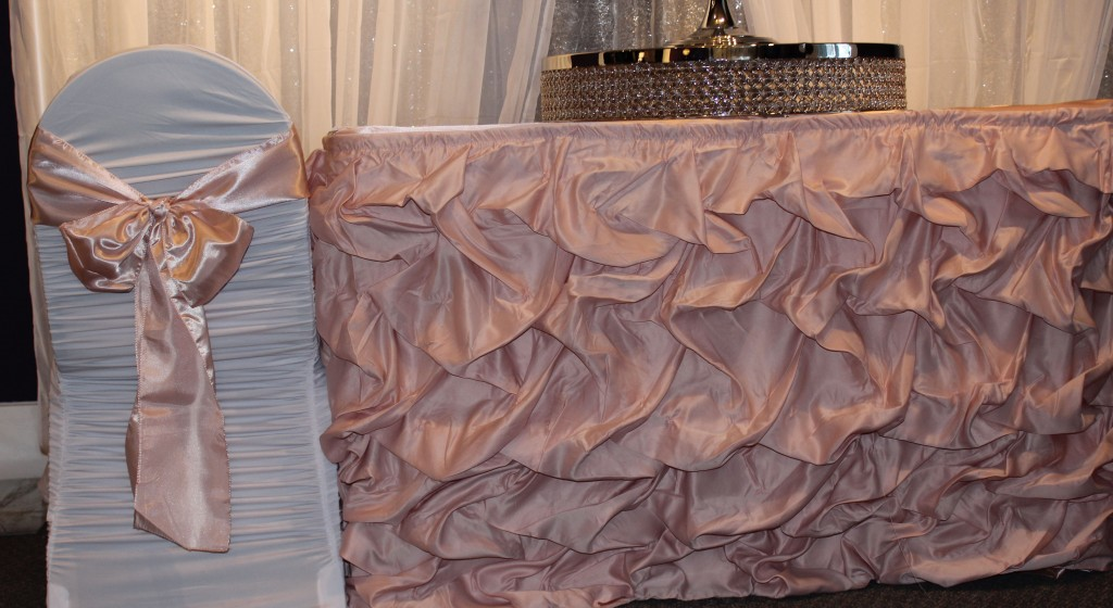 blush pink ruched tableskirt with white ruched chair cover and blush sash2