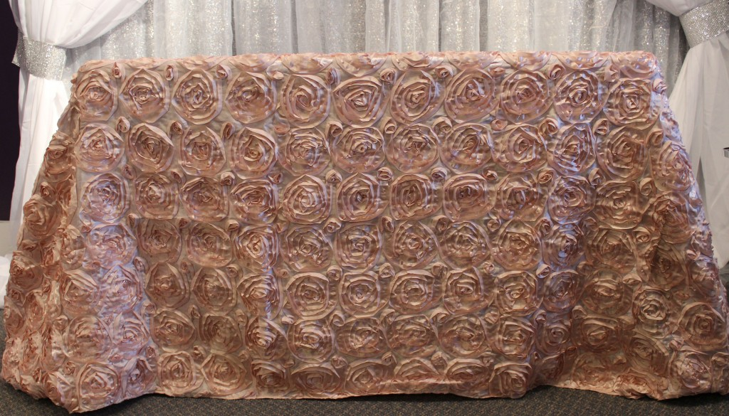 blush satin rosette tablecloth2