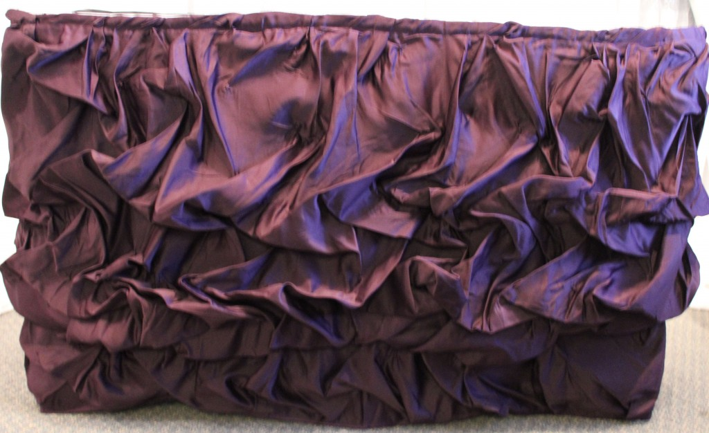 plum ruched tableskirt crpd