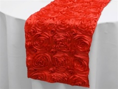 red satin rosette runner