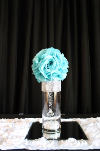 small bling, aqua flowerball centerpiece and mirror