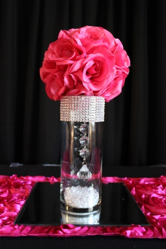 small bling, fuschia flowerball centerpiece and mirror